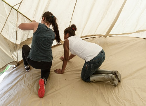 Building the tents at Hanover Primary's Year 6 camp